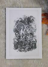 Kresby - Gryphon na gotickom zámku Art Print - 12661326_