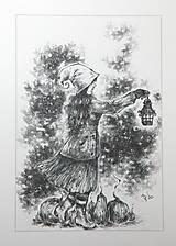 Kresby - Tekvicová čarodejnica s lucernou Art Print - 12661350_