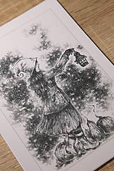 Kresby - Tekvicová čarodejnica s lucernou Art Print - 12661351_