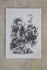 Kresby - Tekvicová čarodejnica s lucernou Art Print - 12661352_