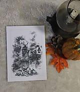 Kresby - Tekvicová čarodejnica s lucernou Art Print - 12661355_