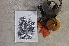 Kresby - Tekvicová čarodejnica s lucernou Art Print - 12661356_