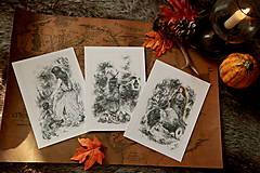 Kresby - Tekvicová čarodejnica s lucernou Art Print - 12661357_