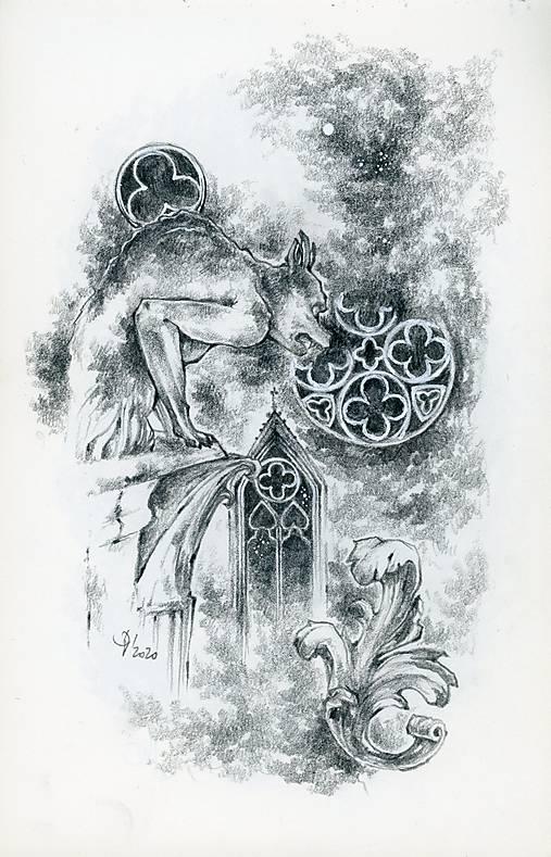 Gotický chrlič na katedrále Art Print