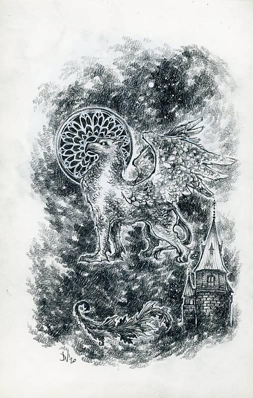 Gryphon na gotickom zámku Art Print