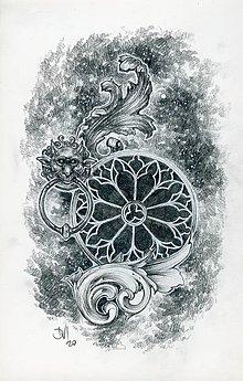 Kresby - Klopadlo z labyrintu gotickej katedrály Art Print - 12661303_