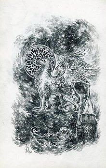 Kresby - Gryphon na gotickom zámku Art Print - 12661321_