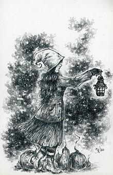 Kresby - Tekvicová čarodejnica s lucernou Art Print - 12661374_