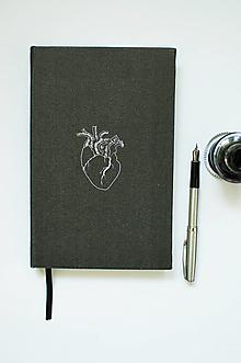 """Papiernictvo - Motivačný diár """"Black heart"""" - 12660384_"""