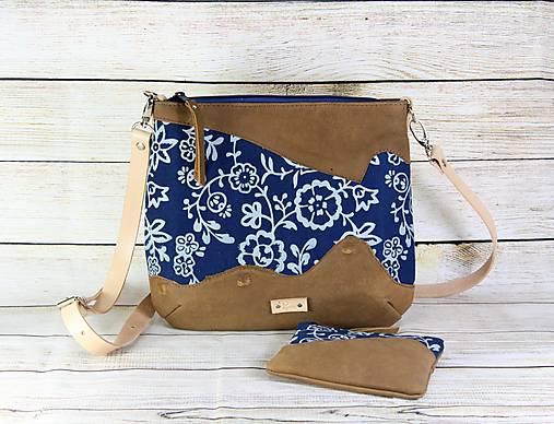 Kožená modrotlačová kabelka RIA WILD 1+ taštička