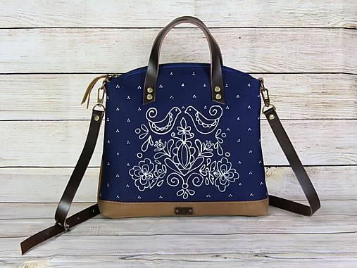Modrotlačová kabelka Nora kožená AM 2