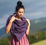 Šatky - Lněný šátek švestkový - 12658108_