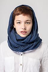 Šatky - Ľanová šatka modrá - 12663583_