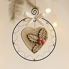 Dekorácie - srdiečko s vianočnou cezmínou - 12661902_