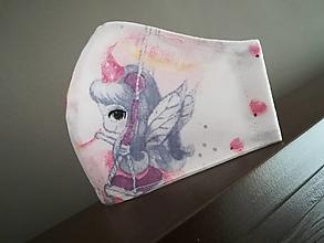 Rúška - Anatomicky tvarované bavlnené rúško / jednorožec a labuť - 12664419_