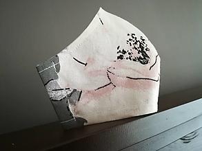 Rúška - Anatomicky tvarované bavlnené rúško / kvet (M) - 12664908_