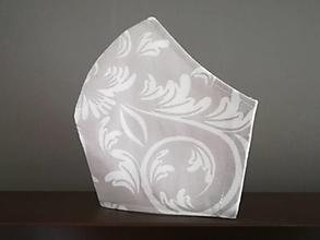 Rúška - Anatomicky tvarované bavlnené rúško / biely ornament na šedej - 12665550_