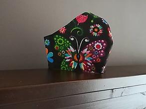 Rúška - Anatomicky tvarované bavlnené rúško / motýle - 12665601_