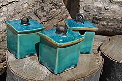Nádoby - Dóza kocka, tyrkysová, zelená :o)). - 12662757_
