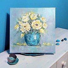 Obrazy - Zátišie so žltými ružami - 12665457_