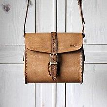 Kabelky - Kožená kabelka Peanut-brown messenger - 12662141_