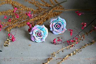 Náušnice - Ruže abstraktné, visiace náušnice - 12661777_
