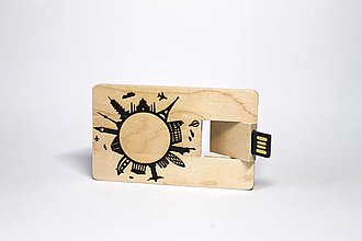 Drobnosti - DREVENÉ USB_LET´S TRAVEL - 12662637_