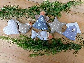 Dekorácie - Vianočné ozdoby, Sivá a prírodná, 6 ks v sade - 12662505_