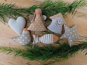 Dekorácie - Vianočné ozdoby na stromček, Béžovo - prírodná, 6 ks v sade - 12662512_