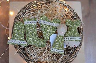 Dekorácie - Vianočné ozdoby Sada zelená malá - 12663750_
