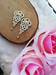 Náušnice - Náušnice s čipkou zlaté - 12665700_