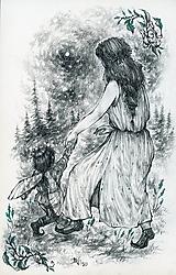 Kresby - Víla tancujúca so škriatkom Art Print - 12661382_