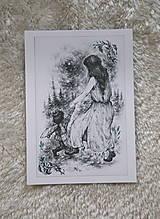 Kresby - Víla tancujúca so škriatkom Art Print - 12661383_