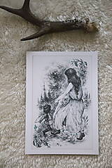 Kresby - Víla tancujúca so škriatkom Art Print - 12661384_