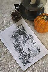 Kresby - Víla tancujúca so škriatkom Art Print - 12661386_
