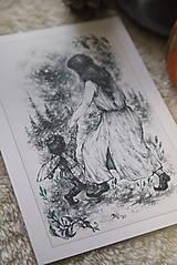 Kresby - Víla tancujúca so škriatkom Art Print - 12661387_