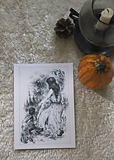 Kresby - Víla tancujúca so škriatkom Art Print - 12661388_