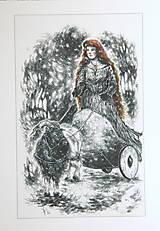 Kresby - Čarodejnica na voze ťahanom kozou Art Print - 12661403_