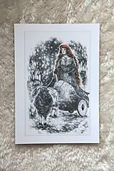 Kresby - Čarodejnica na voze ťahanom kozou Art Print - 12661404_