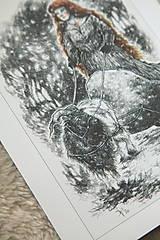 Kresby - Čarodejnica na voze ťahanom kozou Art Print - 12661405_