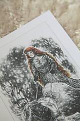 Kresby - Čarodejnica na voze ťahanom kozou Art Print - 12661406_