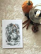Kresby - Čarodejnica na voze ťahanom kozou Art Print - 12661407_