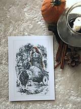 Kresby - Čarodejnica na voze ťahanom kozou Art Print - 12661408_