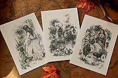 Kresby - Čarodejnica na voze ťahanom kozou Art Print - 12661409_