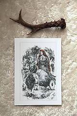 Kresby - Čarodejnica na voze ťahanom kozou Art Print - 12661410_