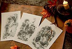 Kresby - Čarodejnica na voze ťahanom kozou Art Print - 12661411_