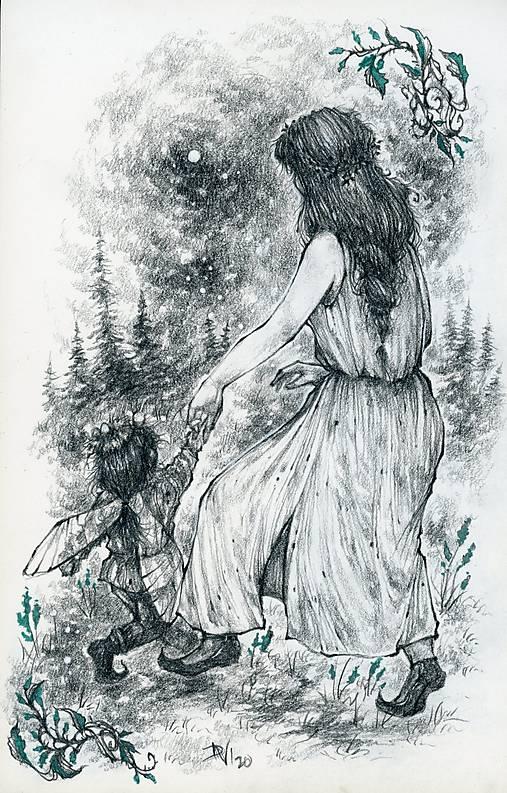 Víla tancujúca so škriatkom Art Print