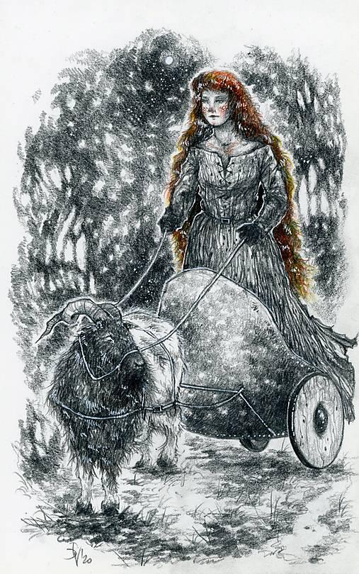 Čarodejnica na voze ťahanom kozou Art Print