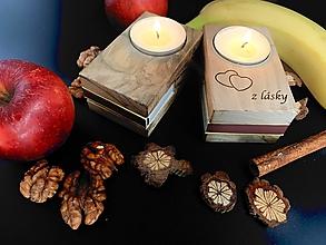 Svietidlá a sviečky - Drevené eco svietniky zápalkovníky 2 ks - 12666355_
