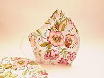 Rúška - Tvarované dvojvrstvové rúško - romantické kvety - 12662102_